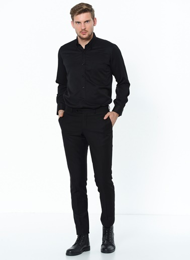 Dewberry Cepli Uzun Kol Pamuklu Shirt Neck Erkek Gömlek Siyah